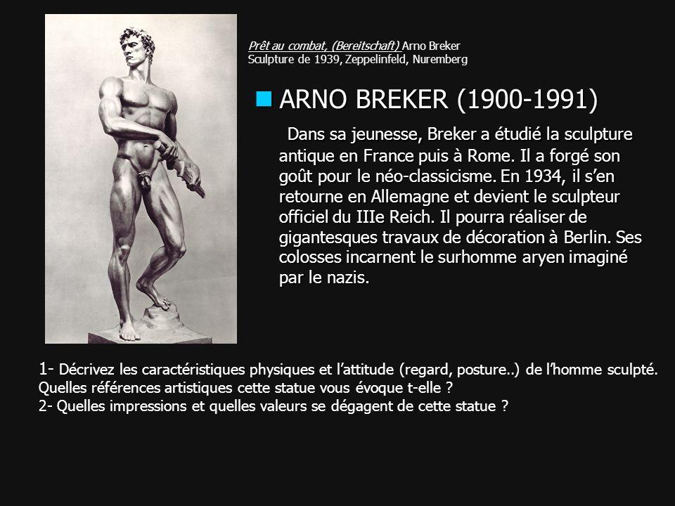 Prêt au combat, (Bereitschaft) Arno Breker Sculpture de 1939, Zeppelinfeld, Nuremberg 1- Décrivez les caractéristiques physiques et lattitude (regard,