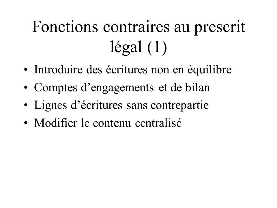 Fonctions contraires au prescrit légal (1) Introduire des écritures non en équilibre Comptes dengagements et de bilan Lignes décritures sans contrepar