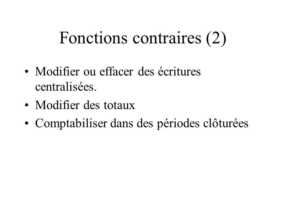 Fonctions contraires (2) Modifier ou effacer des écritures centralisées. Modifier des totaux Comptabiliser dans des périodes clôturées