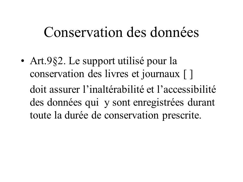 Conservation des données Art.9§2. Le support utilisé pour la conservation des livres et journaux [ ] doit assurer linaltérabilité et laccessibilité de