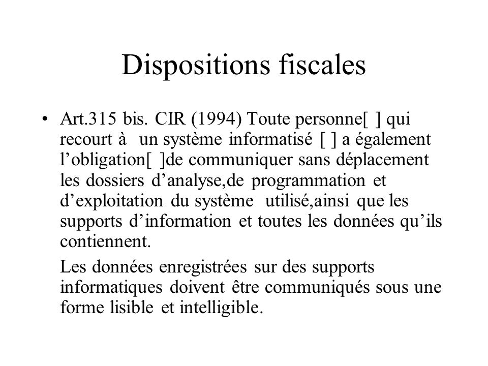 Dispositions fiscales Art.315 bis.
