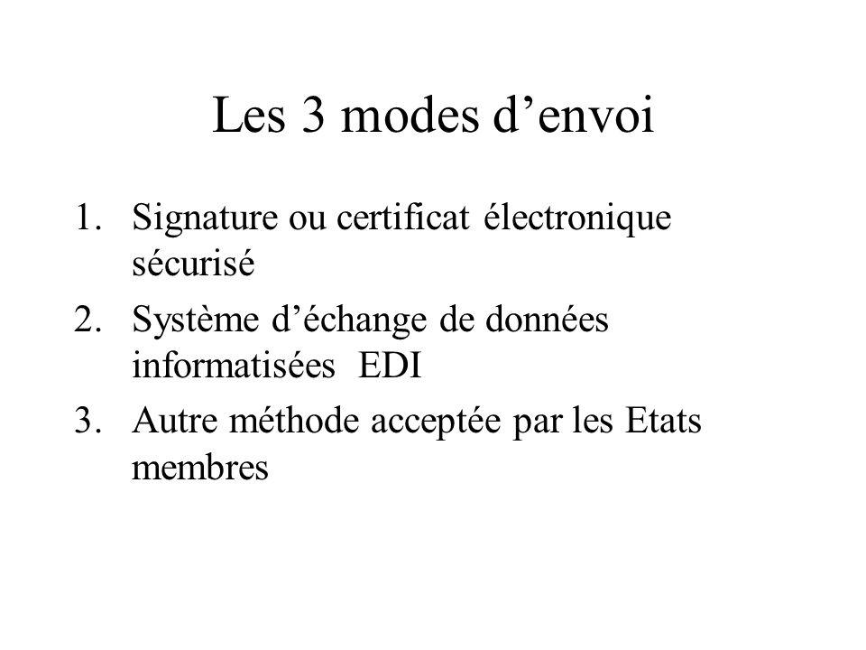 Les 3 modes denvoi 1.Signature ou certificat électronique sécurisé 2.Système déchange de données informatisées EDI 3.Autre méthode acceptée par les Et