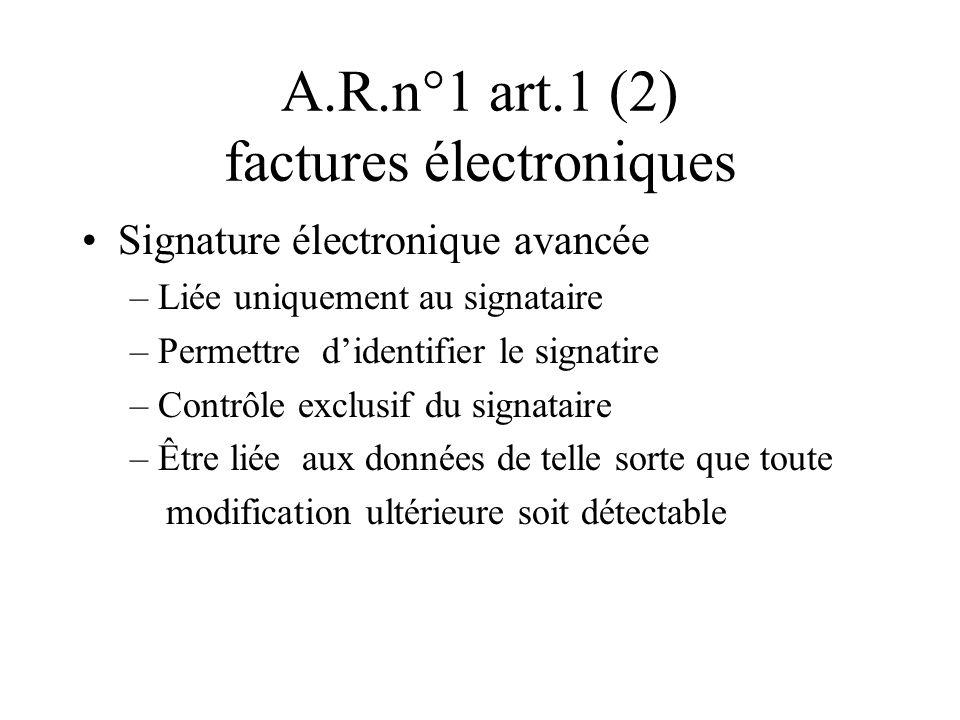 A.R.n°1 art.1 (2) factures électroniques Signature électronique avancée – Liée uniquement au signataire – Permettre didentifier le signatire – Contrôl