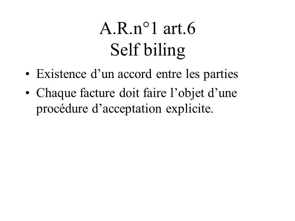 A.R.n°1 art.6 Self biling Existence dun accord entre les parties Chaque facture doit faire lobjet dune procédure dacceptation explicite.