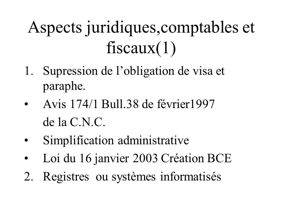 Aspects juridiques,comptables et fiscaux(1) 1.Supression de lobligation de visa et paraphe. Avis 174/1 Bull.38 de février1997 de la C.N.C. Simplificat