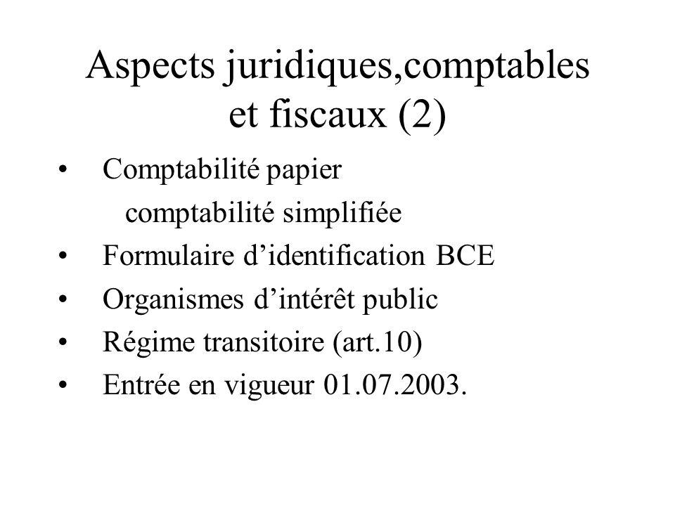 Aspects juridiques,comptables et fiscaux (2) Comptabilité papier comptabilité simplifiée Formulaire didentification BCE Organismes dintérêt public Rég