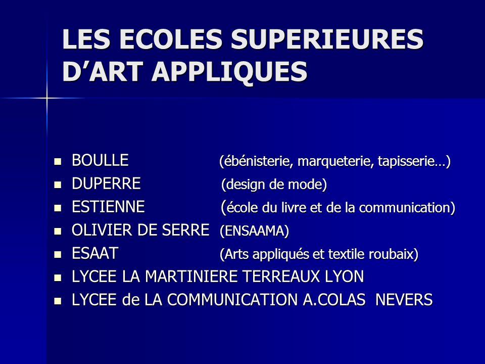 LES ECOLES SUPERIEURES DART APPLIQUES BOULLE (ébénisterie, marqueterie, tapisserie…) BOULLE (ébénisterie, marqueterie, tapisserie…) DUPERRE (design de