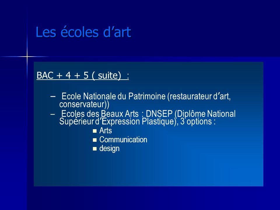 BAC + 4 + 5 ( suite) : – – Ecole Nationale du Patrimoine (restaurateur d art, conservateur)) – – Ecoles des Beaux Arts : DNSEP (Diplôme National Sup é