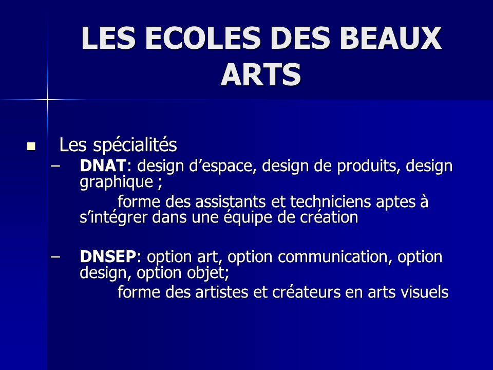 LES ECOLES DES BEAUX ARTS Les spécialités Les spécialités –DNAT: design despace, design de produits, design graphique ; forme des assistants et techni