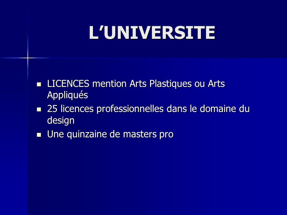 LUNIVERSITE LICENCES mention Arts Plastiques ou Arts Appliqués LICENCES mention Arts Plastiques ou Arts Appliqués 25 licences professionnelles dans le