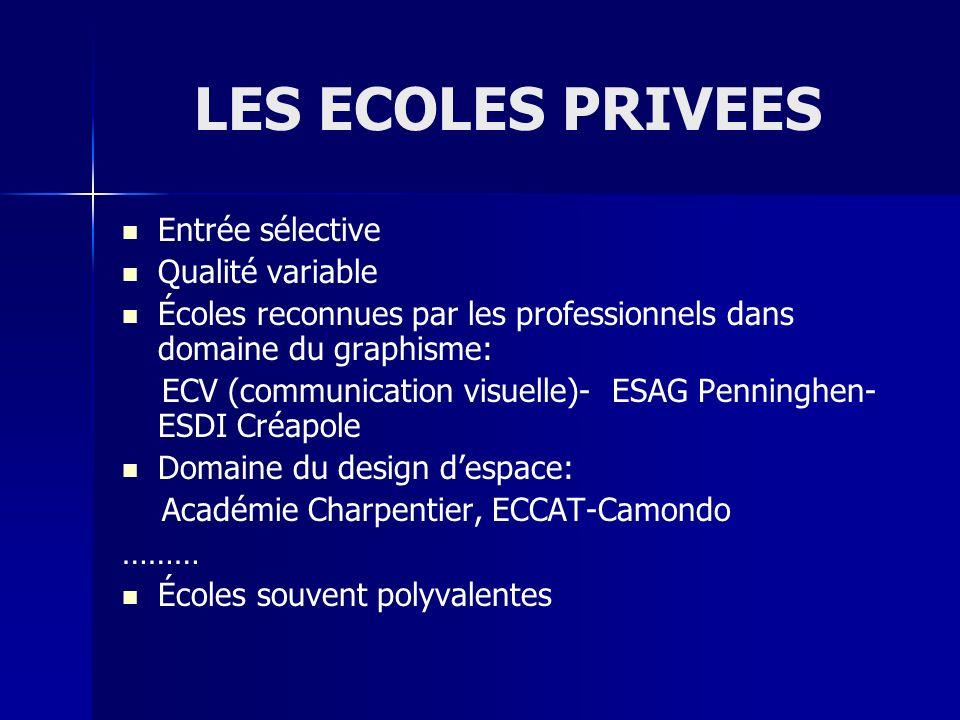 LES ECOLES PRIVEES Entrée sélective Qualité variable Écoles reconnues par les professionnels dans domaine du graphisme: ECV (communication visuelle)-