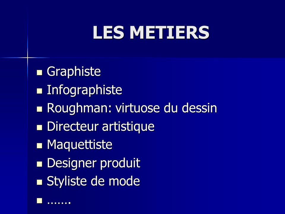 LES METIERS Graphiste Graphiste Infographiste Infographiste Roughman: virtuose du dessin Roughman: virtuose du dessin Directeur artistique Directeur a