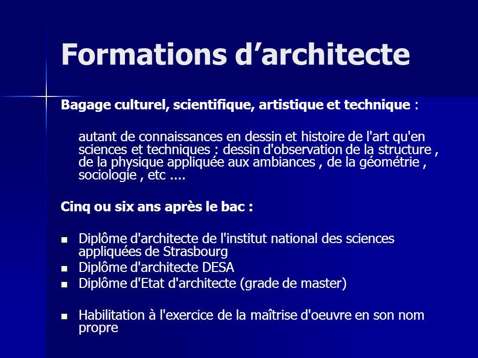Formations darchitecte Bagage culturel, scientifique, artistique et technique : autant de connaissances en dessin et histoire de l'art qu'en sciences