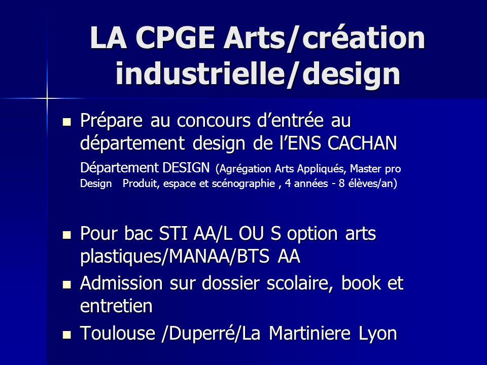 LA CPGE Arts/création industrielle/design Prépare au concours dentrée au département design de lENS CACHAN ( Prépare au concours dentrée au départemen
