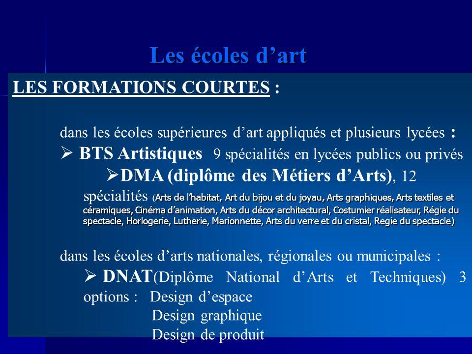 Les écoles dart LES FORMATIONS COURTES : dans les écoles supérieures dart appliqués et plusieurs lycées : BTS Artistiques 9 spécialités en lycées publ