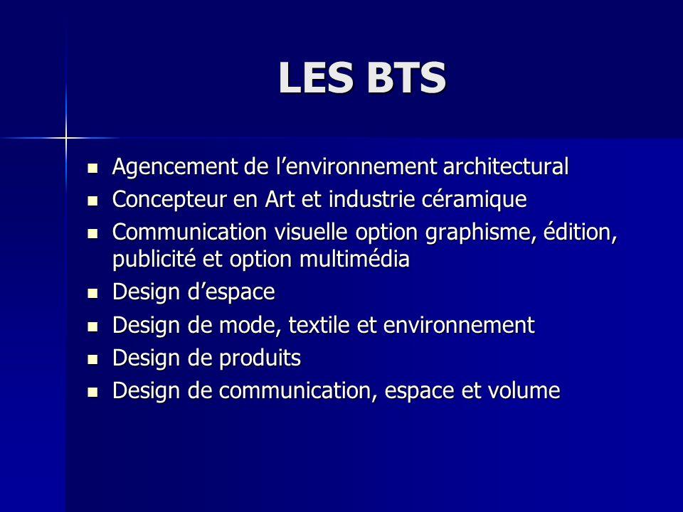 LES BTS Agencement de lenvironnement architectural Agencement de lenvironnement architectural Concepteur en Art et industrie céramique Concepteur en A