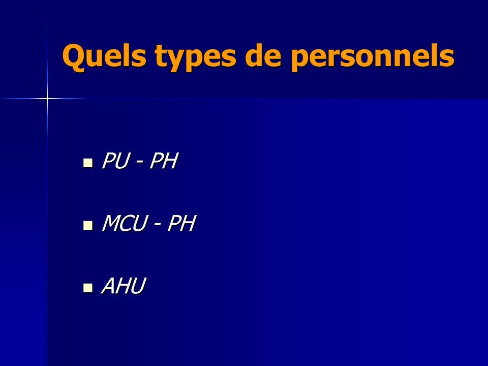 PU - PH PU - PH MCU - PH MCU - PH AHU AHU Quels types de personnels