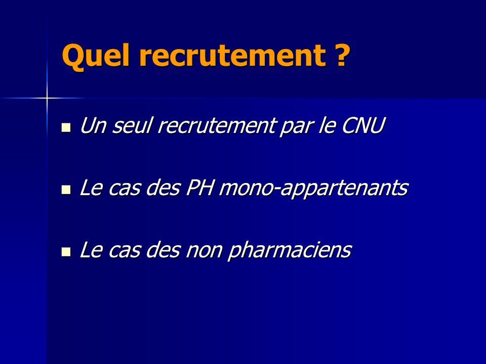 Un seul recrutement par le CNU Un seul recrutement par le CNU Le cas des PH mono-appartenants Le cas des PH mono-appartenants Le cas des non pharmaciens Le cas des non pharmaciens Quel recrutement ?