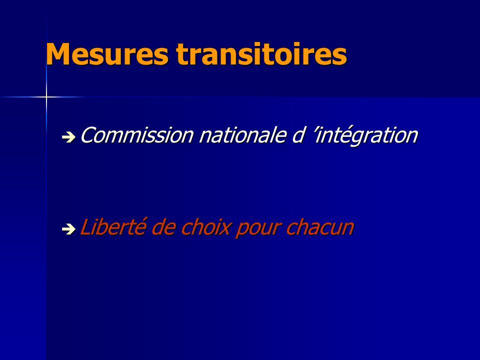 Mesures transitoires Commission nationale d intégration Commission nationale d intégration Liberté de choix pour chacun Liberté de choix pour chacun