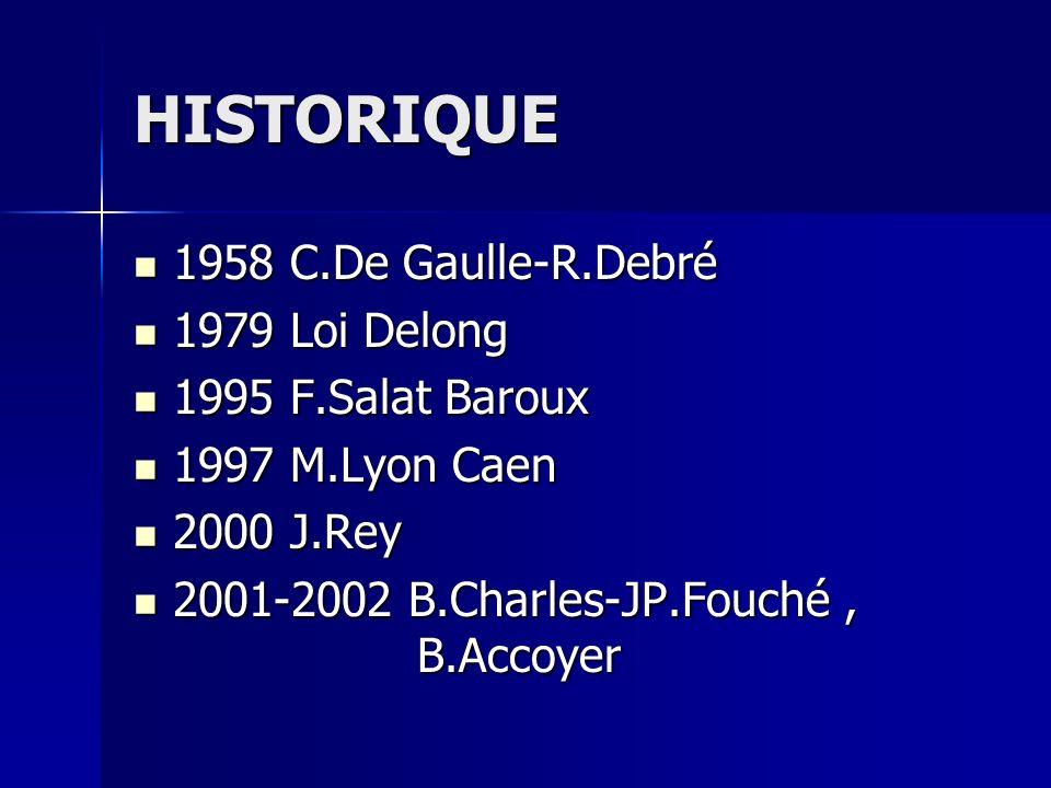 HISTORIQUE 1958 C.De Gaulle-R.Debré 1958 C.De Gaulle-R.Debré 1979 Loi Delong 1979 Loi Delong 1995 F.Salat Baroux 1995 F.Salat Baroux 1997 M.Lyon Caen 1997 M.Lyon Caen 2000 J.Rey 2000 J.Rey 2001-2002 B.Charles-JP.Fouché, B.Accoyer 2001-2002 B.Charles-JP.Fouché, B.Accoyer