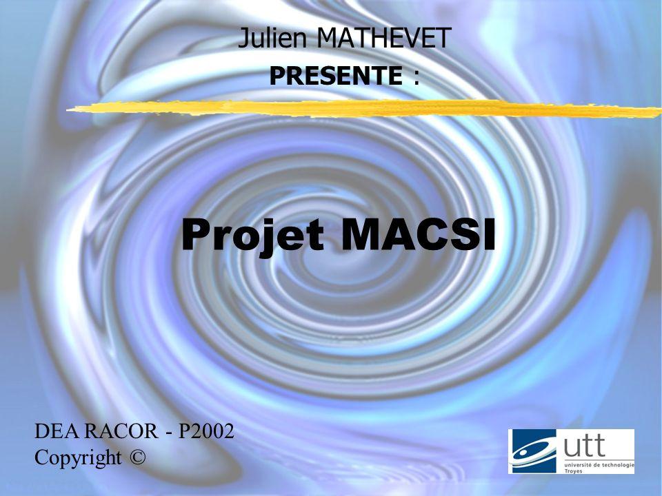 Julien MATHEVET PRESENTE : Projet MACSI DEA RACOR - P2002 Copyright ©