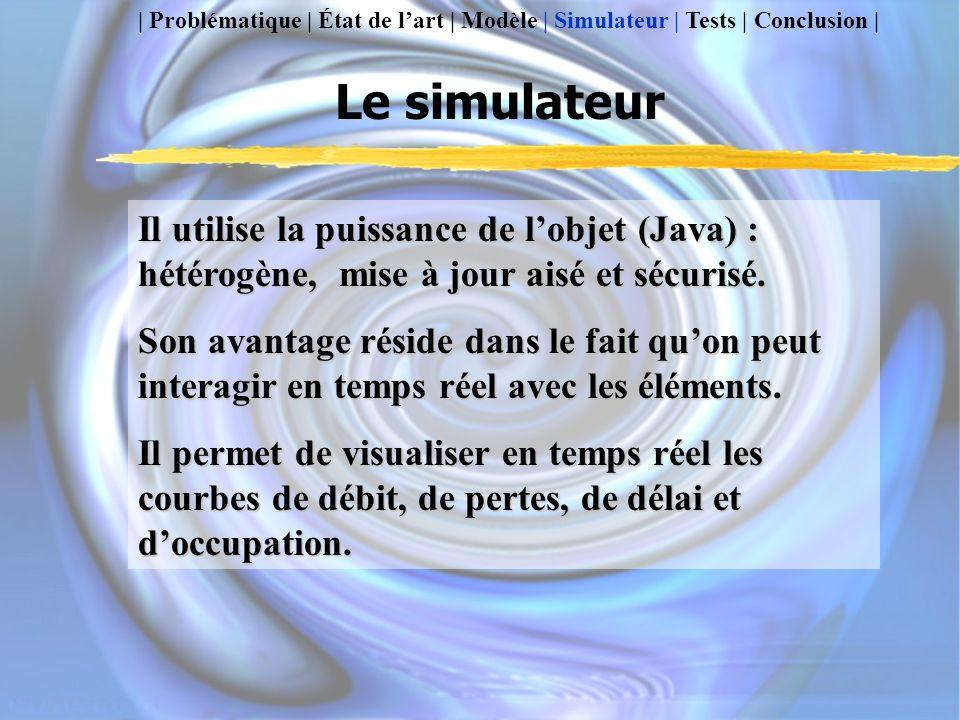 Le simulateur Il utilise la puissance de lobjet (Java) : hétérogène, mise à jour aisé et sécurisé.