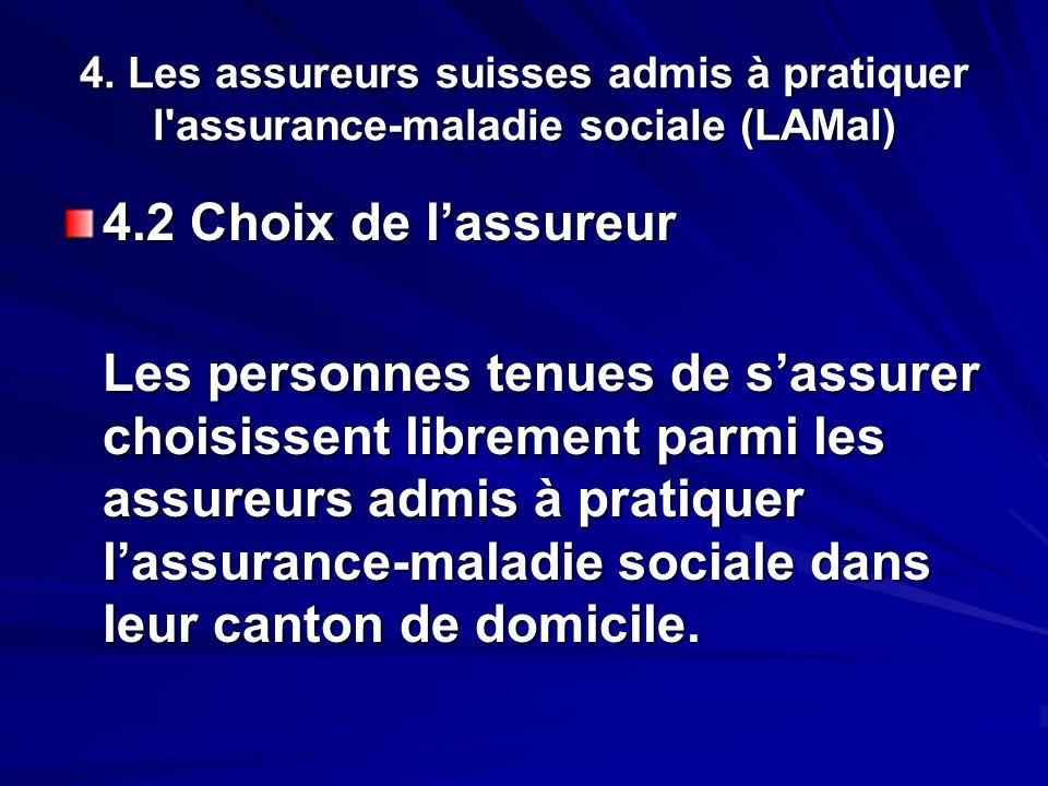 4. Les assureurs suisses admis à pratiquer l'assurance-maladie sociale (LAMal) 4.2 Choix de lassureur Les personnes tenues de sassurer choisissent lib