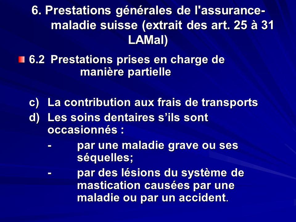 6. Prestations générales de l'assurance- maladie suisse (extrait des art. 25 à 31 LAMal) 6.2 Prestations prises en charge de manière partielle c)La co