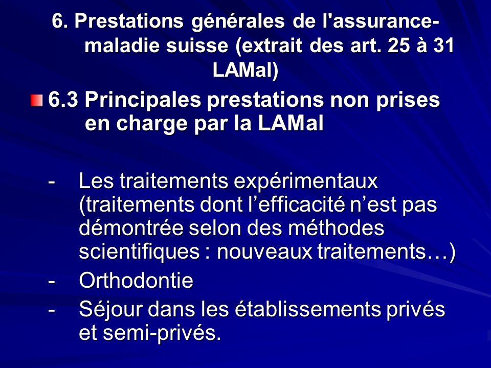 6. Prestations générales de l'assurance- maladie suisse (extrait des art. 25 à 31 LAMal) 6.3 Principales prestations non prises en charge par la LAMal