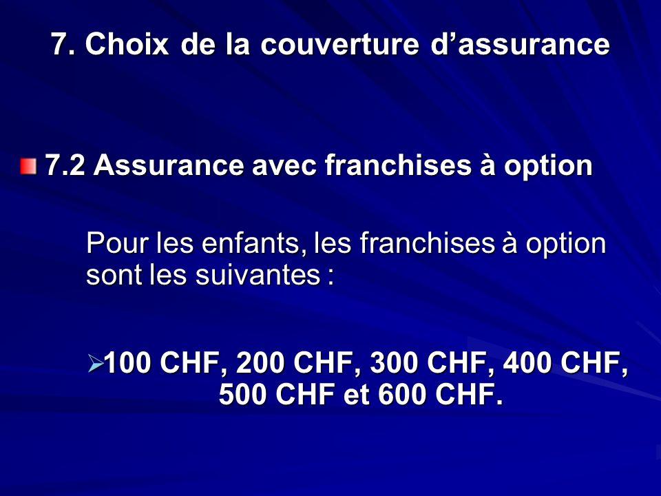 7. Choix de la couverture dassurance 7.2 Assurance avec franchises à option Pour les enfants, les franchises à option sont les suivantes : 100 CHF, 20