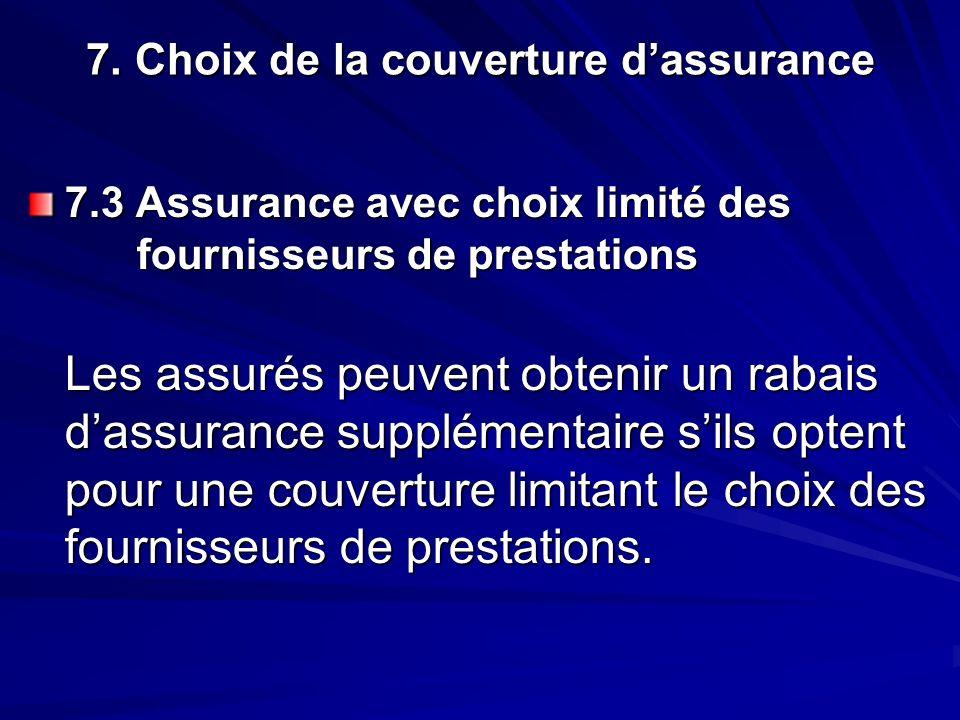 7. Choix de la couverture dassurance 7.3 Assurance avec choix limité des fournisseurs de prestations Les assurés peuvent obtenir un rabais dassurance