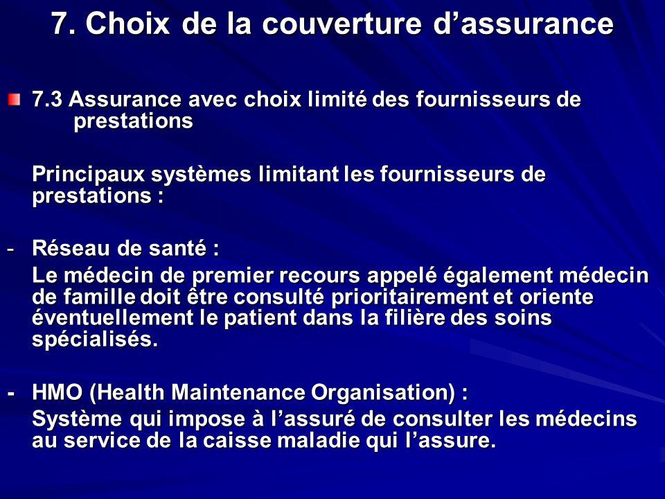 7. Choix de la couverture dassurance 7.3 Assurance avec choix limité des fournisseurs de prestations Principaux systèmes limitant les fournisseurs de