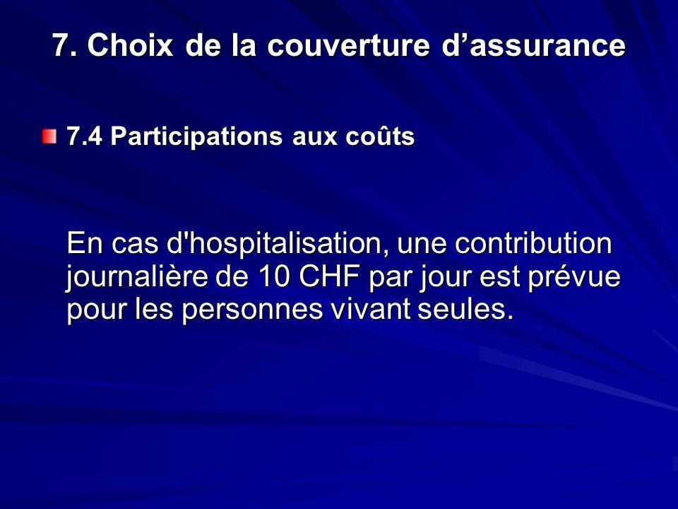 7. Choix de la couverture dassurance 7.4 Participations aux coûts En cas d'hospitalisation, une contribution journalière de 10 CHF par jour est prévue