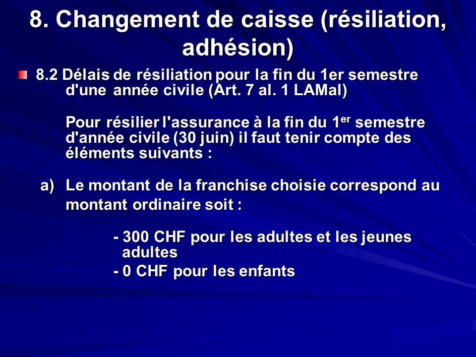 8. Changement de caisse (résiliation, adhésion) 8.2 Délais de résiliation pour la fin du 1er semestre d'une année civile (Art. 7 al. 1 LAMal) Pour rés