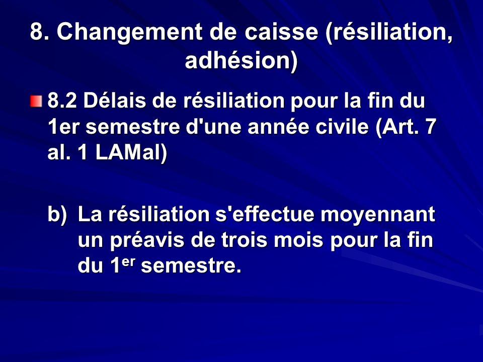 8. Changement de caisse (résiliation, adhésion) 8.2 Délais de résiliation pour la fin du 1er semestre d'une année civile (Art. 7 al. 1 LAMal) b)La rés