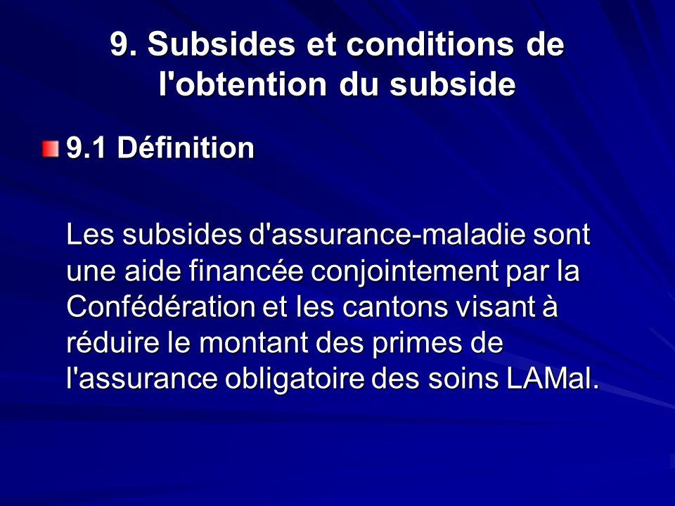 9. Subsides et conditions de l'obtention du subside 9.1 Définition Les subsides d'assurance-maladie sont une aide financée conjointement par la Conféd