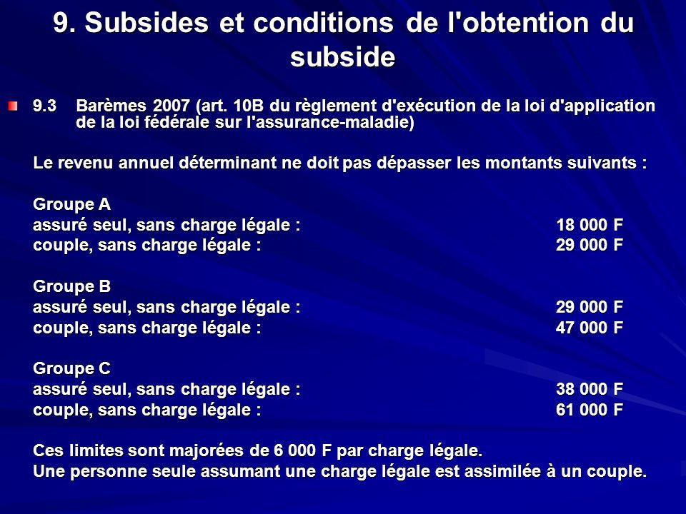 9. Subsides et conditions de l'obtention du subside 9.3Barèmes 2007 (art. 10B du règlement d'exécution de la loi d'application de la loi fédérale sur