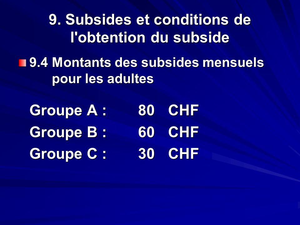 9. Subsides et conditions de l'obtention du subside 9.4 Montants des subsides mensuels pour les adultes Groupe A :80CHF Groupe B :60CHF Groupe C :30CH