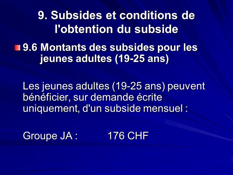 9. Subsides et conditions de l'obtention du subside 9.6 Montants des subsides pour les jeunes adultes (19-25 ans) Les jeunes adultes (19-25 ans) peuve