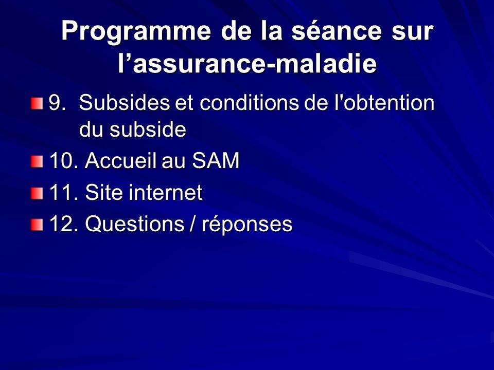 Programme de la séance sur lassurance-maladie 9. Subsides et conditions de l'obtention du subside 10. Accueil au SAM 11. Site internet 12. Questions /