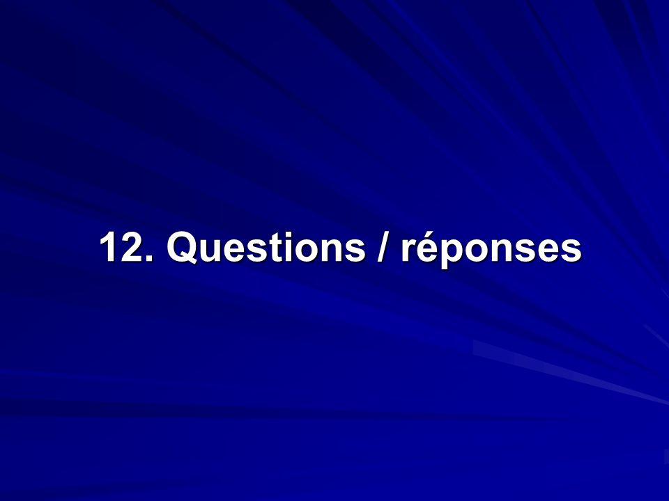 12. Questions / réponses 12. Questions / réponses