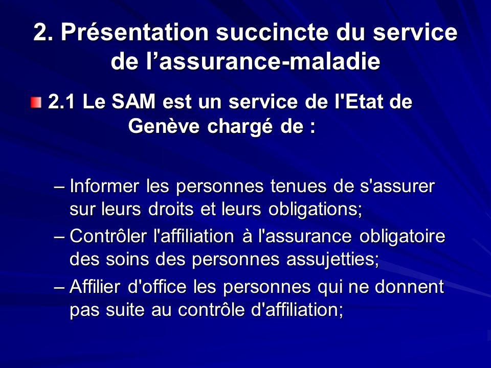 2. Présentation succincte du service de lassurance-maladie 2.1 Le SAM est un service de l'Etat de Genève chargé de : –Informer les personnes tenues de