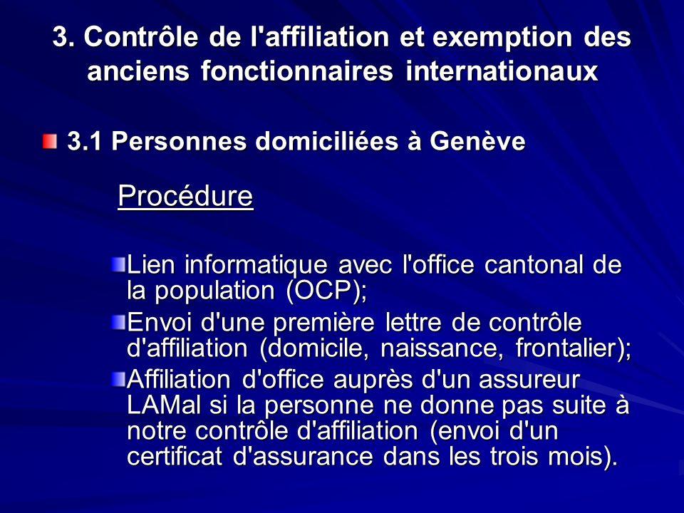 3. Contrôle de l'affiliation et exemption des anciens fonctionnaires internationaux 3.1 Personnes domiciliées à Genève Procédure Procédure Lien inform
