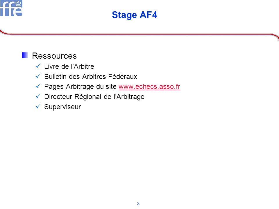 3 Stage AF4 Ressources Livre de lArbitre Bulletin des Arbitres Fédéraux Pages Arbitrage du site www.echecs.asso.frwww.echecs.asso.fr Directeur Régiona