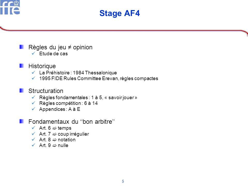 5 Stage AF4 Règles du jeu opinion Etude de cas Historique La Préhistoire : 1984 Thessalonique 1995 FIDE Rules Committee Erevan, règles compactes Struc