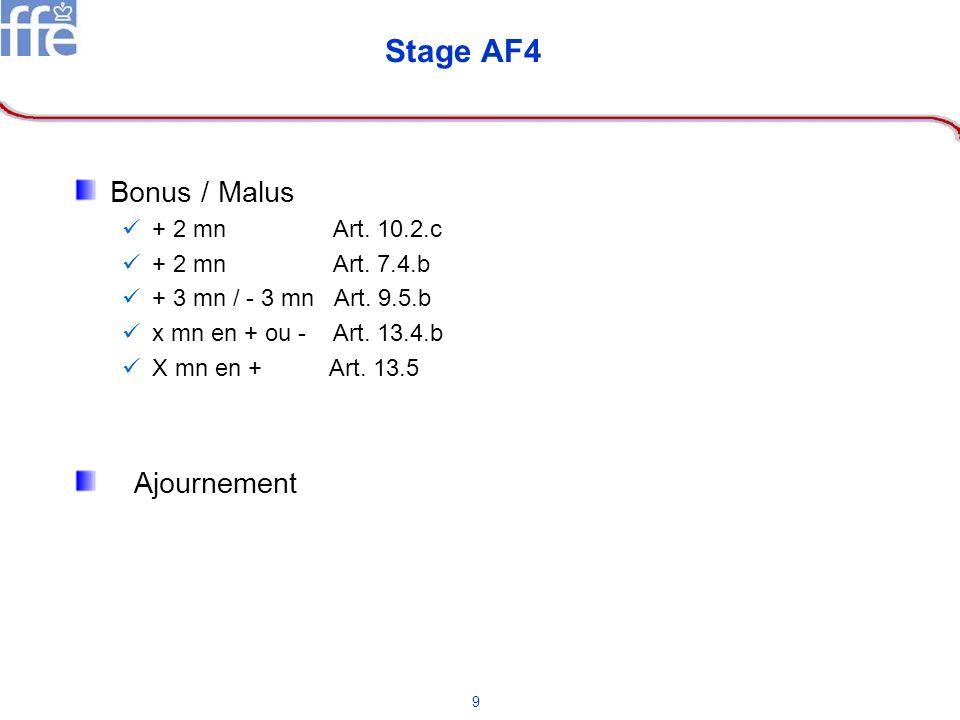 9 Stage AF4 Bonus / Malus + 2 mn Art. 10.2.c + 2 mn Art. 7.4.b + 3 mn / - 3 mn Art. 9.5.b x mn en + ou - Art. 13.4.b X mn en + Art. 13.5 Ajournement