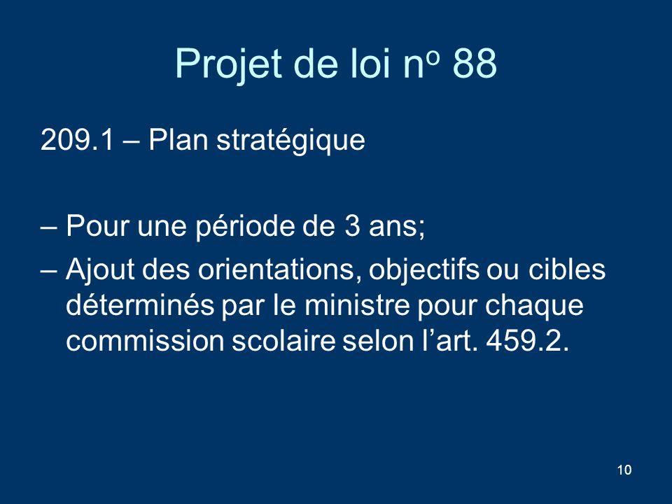 10 Projet de loi n o 88 209.1 – Plan stratégique –Pour une période de 3 ans; –Ajout des orientations, objectifs ou cibles déterminés par le ministre p