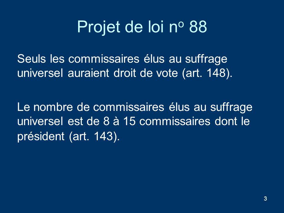 3 Projet de loi n o 88 Seuls les commissaires élus au suffrage universel auraient droit de vote (art. 148). Le nombre de commissaires élus au suffrage
