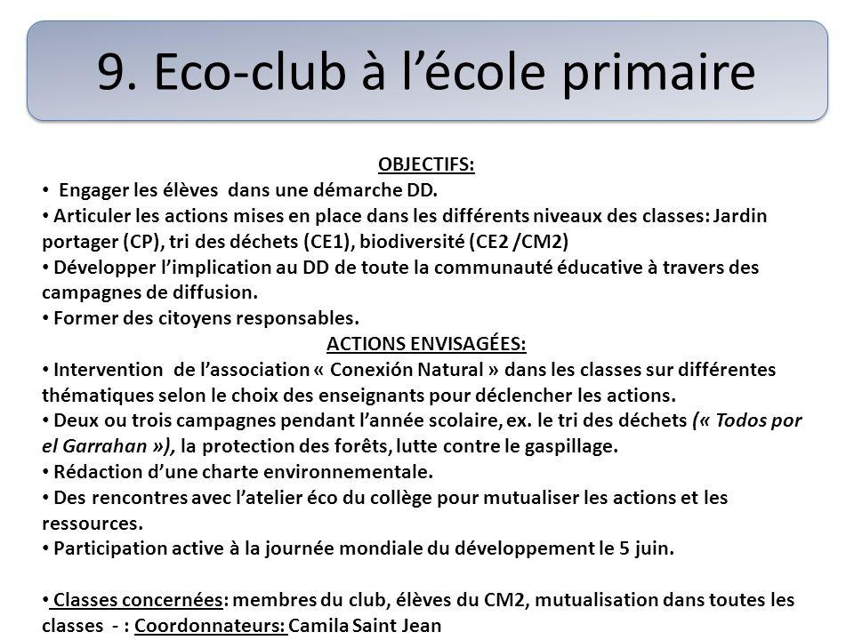 9. Eco-club à lécole primaire OBJECTIFS: Engager les élèves dans une démarche DD. Articuler les actions mises en place dans les différents niveaux des