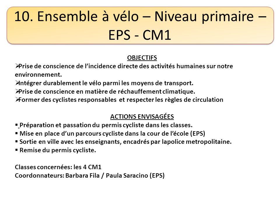 10. Ensemble à vélo – Niveau primaire – EPS - CM1 OBJECTIFS Prise de conscience de lincidence directe des activités humaines sur notre environnement.